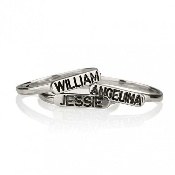 Sterling Silver Engraved Name Stacking Ring - jeweleen