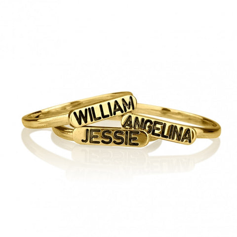 24k Gold Plated Engraved Name Stacking Ring - jeweleen