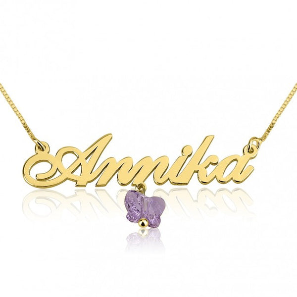 14K Gold Alegro Name Necklace With A Purple Butterfly - jeweleen - 1