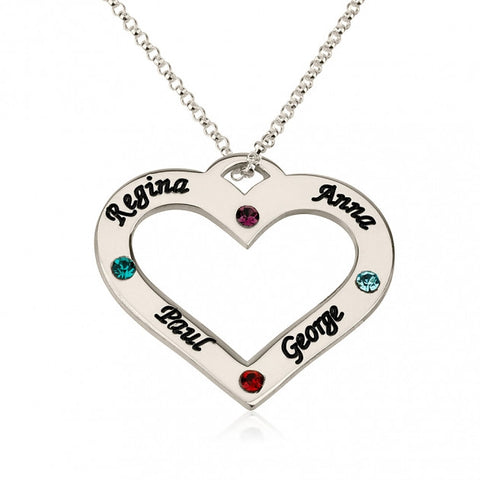 Sterling Silver Engraved Heart Family Name and Birthstone Necklace - jeweleen - 1