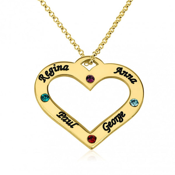 24k Gold Plated Engraved Heart Family Name and Birthstone Necklace - jeweleen - 1
