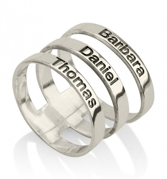 Sterling Silver Engraved Names Layered Ring - jeweleen