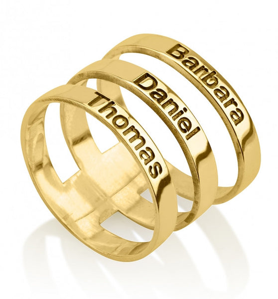 24k Gold Plated Engraved Name Layered Ring - jeweleen