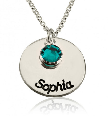 Sterling Silver Engraved Disc Name Necklace with Birthstone - jeweleen - 1