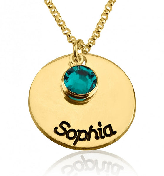 24k Gold Plated Engraved Disc Name Necklace with Birthstone - jeweleen - 1