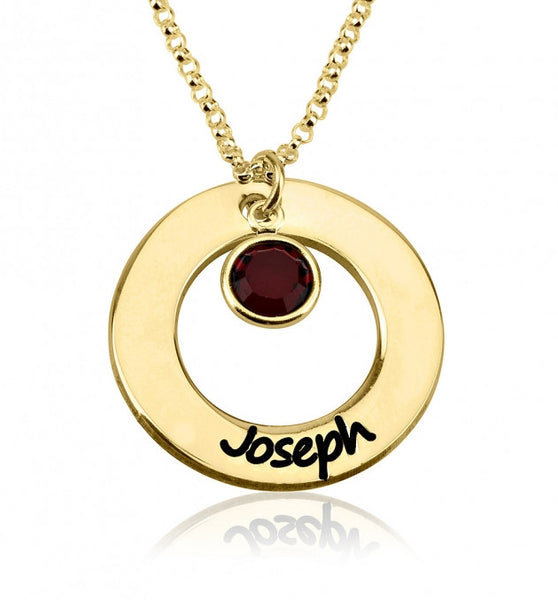 24k Gold Plated Engraved Circle Name Necklace with Birthstone - jeweleen - 1