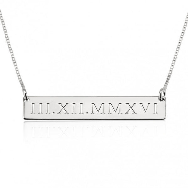 Sterling Silver Roman Numeral Engraved Bar Necklace - jeweleen - 1