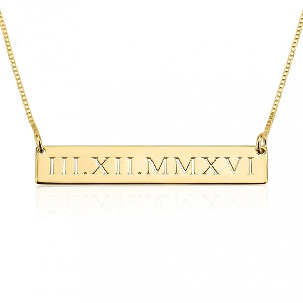 24k Gold Plated Roman Numeral Engraved Bar Necklace - jeweleen - 1