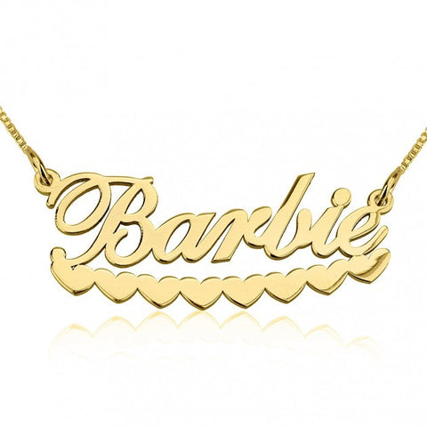 14K Gold A Barbie Hearts Name Necklace - jeweleen - 1