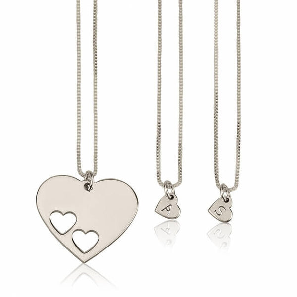 Sterling Silver Floating Initial Hearts Mother Daughter Necklace Set - jeweleen - 1