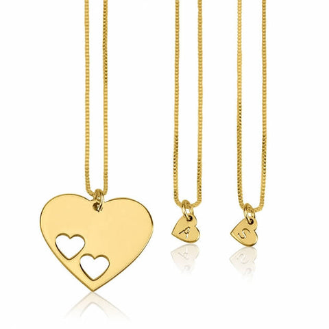 24k Gold Plated Floating Initial Hearts Mother Daughter Necklace Set - jeweleen - 1