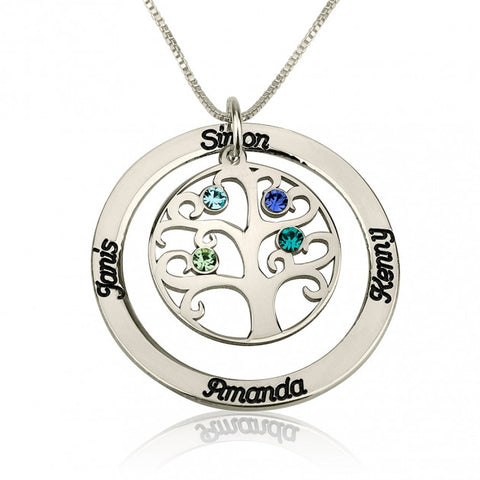Sterling Silver Family Tree Birthstone Name Necklace - jeweleen - 1
