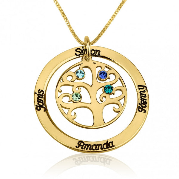 24k Gold Plated Family Tree Birthstone Name Necklace - jeweleen - 1