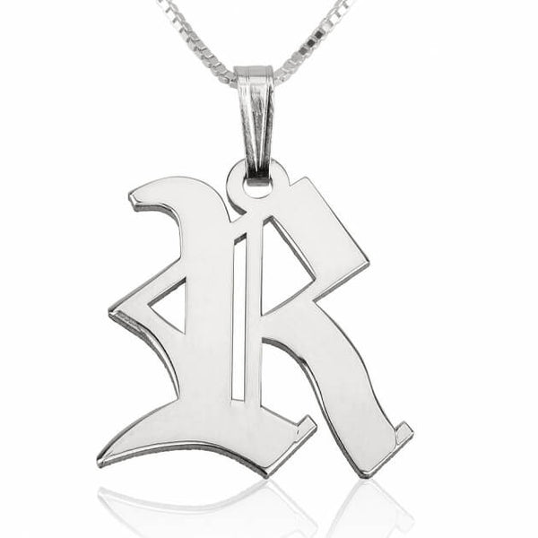 Sterling Silver Old English Initial Necklace - jeweleen - 1