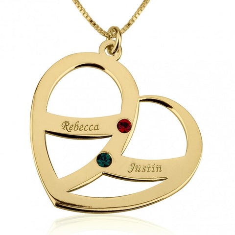 24k Gold Plated Engraved Name and Birthstone Heart Mother Necklace - jeweleen - 1