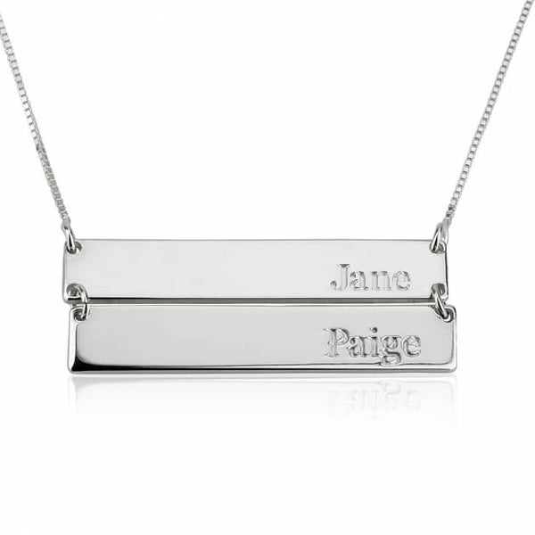 Sterling Silver Engraved Stacked Bar Necklace - jeweleen - 1
