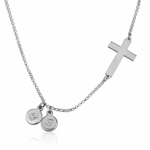 Sterling Silver Sideways Cross Initial Necklace - jeweleen - 1