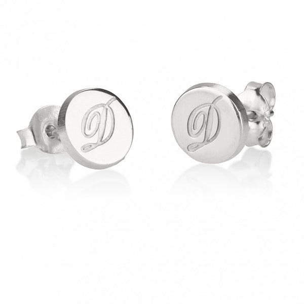 Sterling Silver Circle Initial Stud Earrings - jeweleen