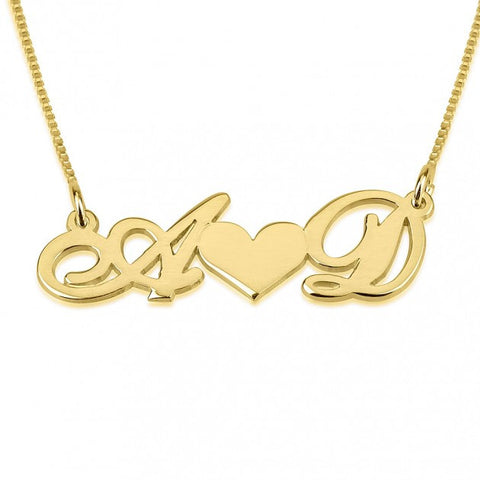 14K Gold Initials Necklace with Heart - jeweleen - 1