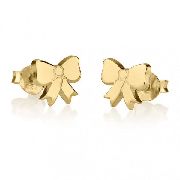 24k Gold Plated Stud Bow Earrings - jeweleen