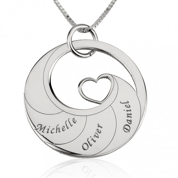 Sterling Silver Engraved Swirl Mother Necklace - jeweleen - 1
