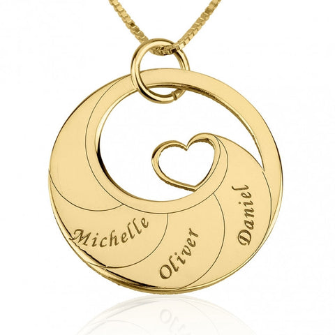 24k Gold Plated Engraved Swirl Mother Necklace - jeweleen - 1