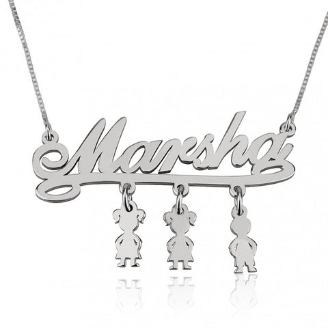 Sterling Silver Mother Name Necklace with Dangling Kids Charms - jeweleen - 1