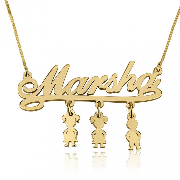 24k Gold Plated Mother Name Necklace with Dangling Kids Charms - jeweleen - 1