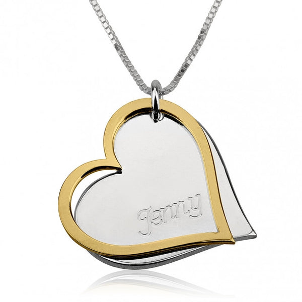 Two Tone Engraved Hearts Necklace - jeweleen - 1