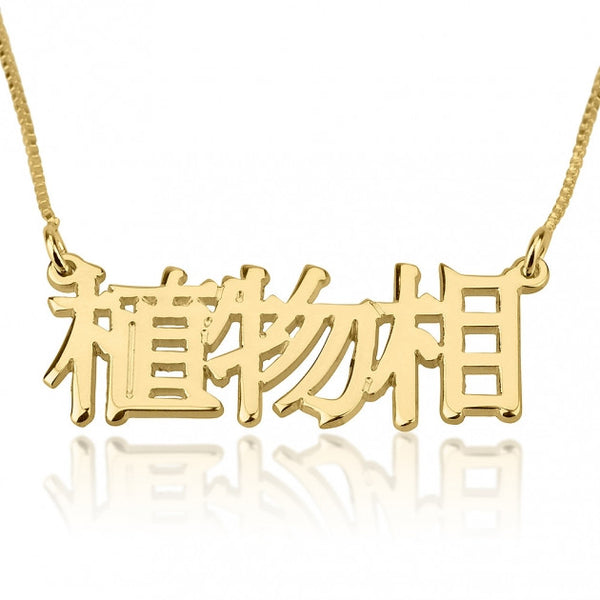 24k Gold Plated Chinese Name Necklace - jeweleen - 1