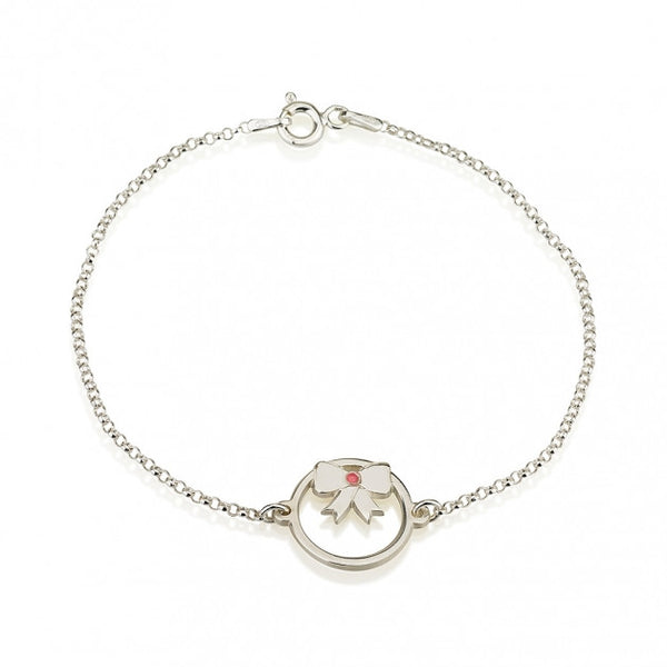 Sterling Silver Birthstone Bow Bracelet - jeweleen - 1