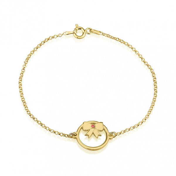 24k Gold Plated Birthstone Bow Bracelet - jeweleen - 1