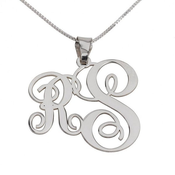 Sterling Silver Two Letters Small Big Monogram Necklace - jeweleen - 1