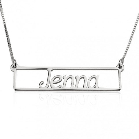 Sterling Silver Name Bar Necklace - jeweleen - 1