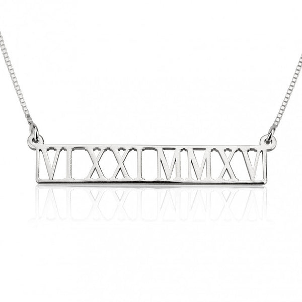 Sterling Silver Roman Numeral Cut Out Necklace - jeweleen - 1