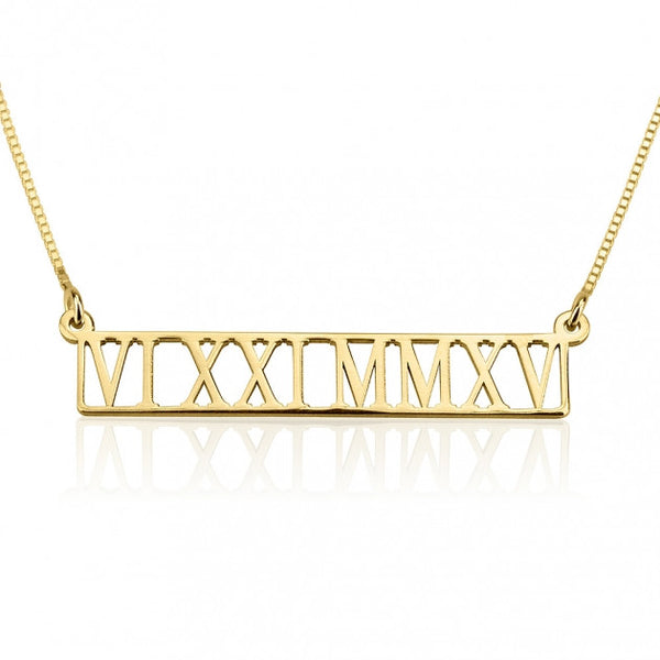 24k Gold Plated Roman Numeral Cut Out Necklace - jeweleen - 1