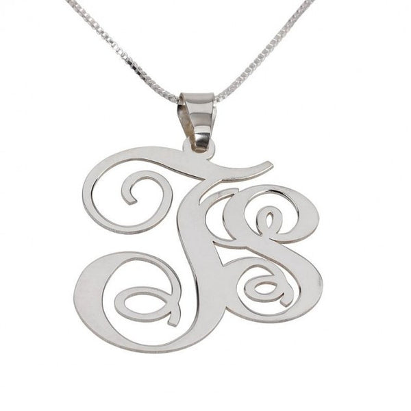 Sterling Silver Two Letters Big Small Monogram Necklace - jeweleen - 1