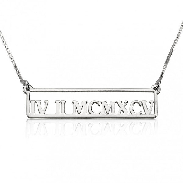 Sterling Silver Framed Roman Numeral Bar Necklace - jeweleen - 1