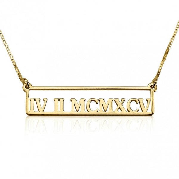 24k Gold Plated Framed Roman Numeral Bar Necklace - jeweleen - 1