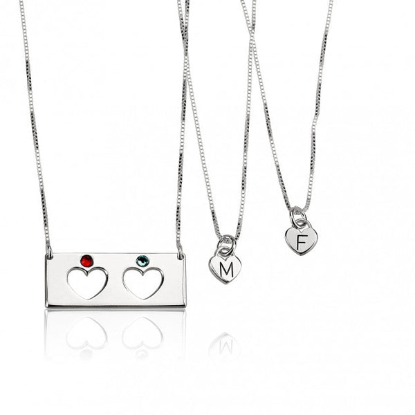 Sterling Silver Engraved Birthstone Bar Mother Daughter Necklace Set - jeweleen - 1