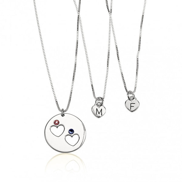 Sterling Silver Engraved Birthstone Mother Daughter Necklace Set - jeweleen - 1