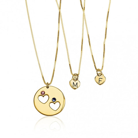 24k Gold Plated Engraved Birthstone Mother Daughter Necklace Set - jeweleen - 1