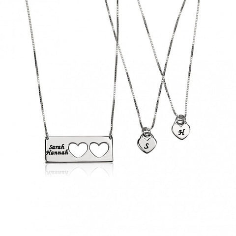 Sterling Silver Engraved Name Mother Daughter Necklace Set - jeweleen - 1