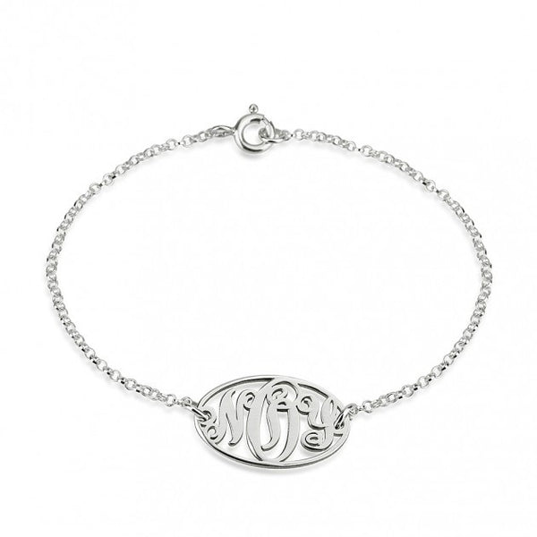 Sterling Silver Circle Monogram Bracelet - jeweleen - 1