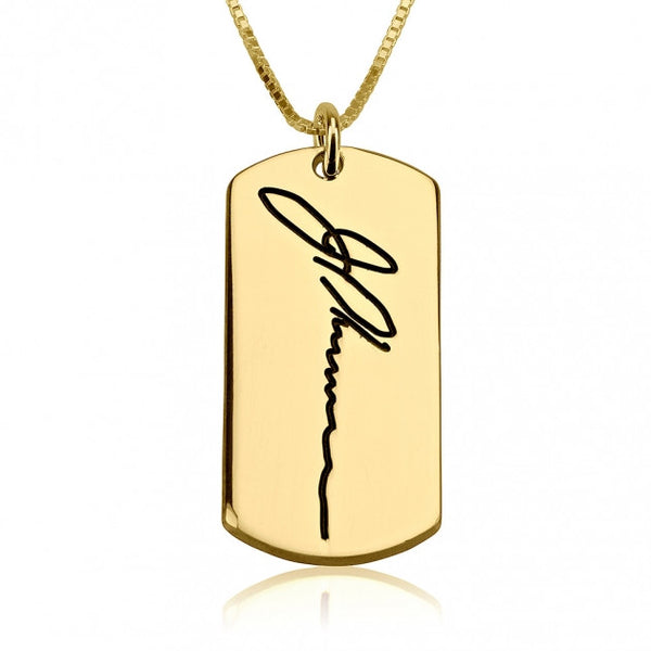 24k Gold Plated Dog Tag Signature Necklace - jeweleen - 1