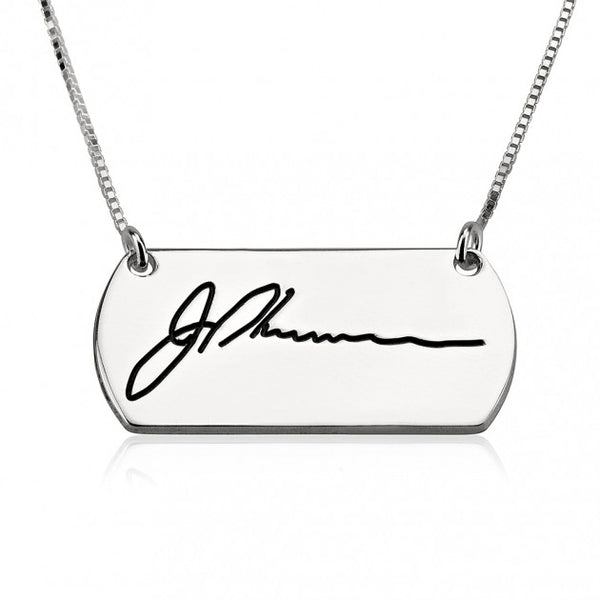 Sterling Silver Signature Bar Necklace - jeweleen - 1