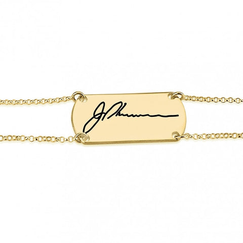 24k Gold Plated Signature Bar Bracelet - jeweleen - 1