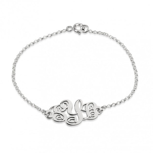 Sterling Silver Monogram Bracelet - jeweleen - 1