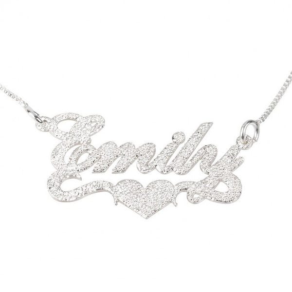 Sparkling Name Necklace with Center Heart - jeweleen - 1