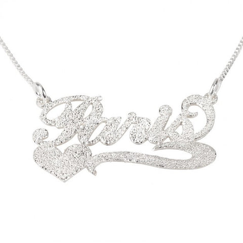 Carrie Sparkling Name Necklace with Side Heart - jeweleen - 1